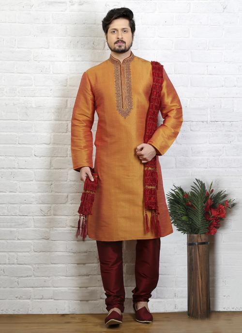 Trendy Look Embroidery Work Festival Wear Orange Art Silk Sherwani Style