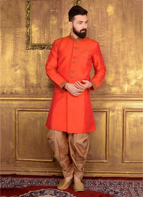 Festival Wear Orange Banarasi Silk Embroidery Work Sherwani