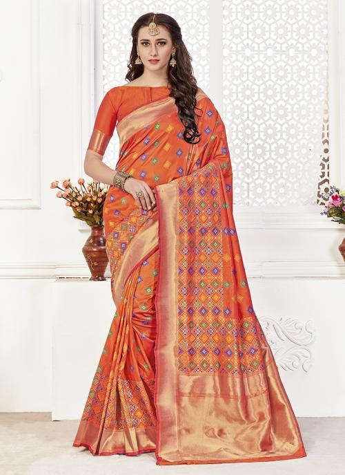 Festival Wear Orange Banarasi Silk premium royal silk saree Saree