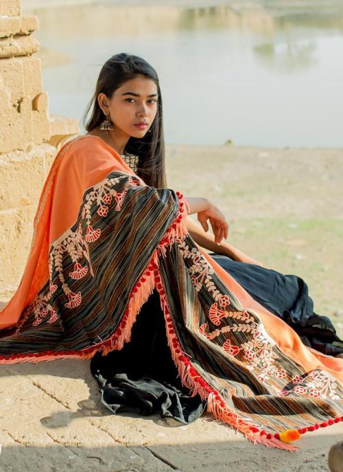 Festival Wear Orange Cotton Embroidery Dupatta