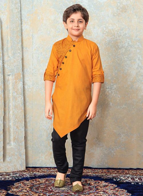 Festival Wear Orange Cotton Printed Work Kids Kurta Pajama