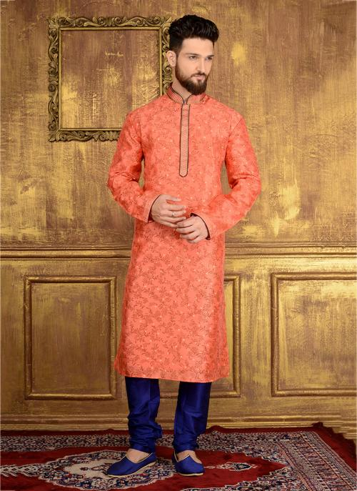 Festival Wear Orange Jacqaurd Silk Lace Work Kurta Pajama