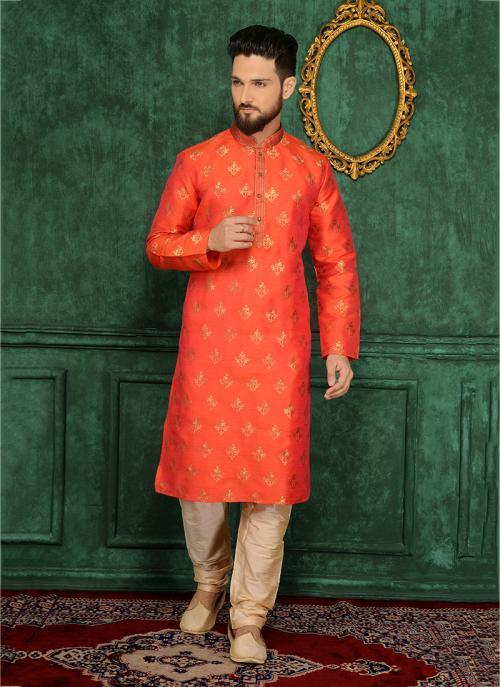 Festival Wear Orange Jacqaurd Silk Lace Work Kurta Pajama