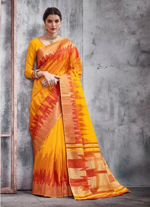 Festival Wear Orange Weaving Silk Border Work Saree