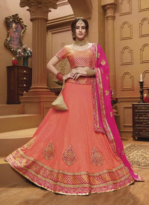 Festival Wear Peach Banglori Silk Lace Work Lehenga Choli