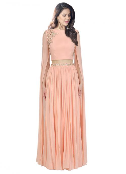 Festival Wear Peach Georgette Sequins Work Prathyusha Garimella Designer Crop Top With Lehenga Skirt