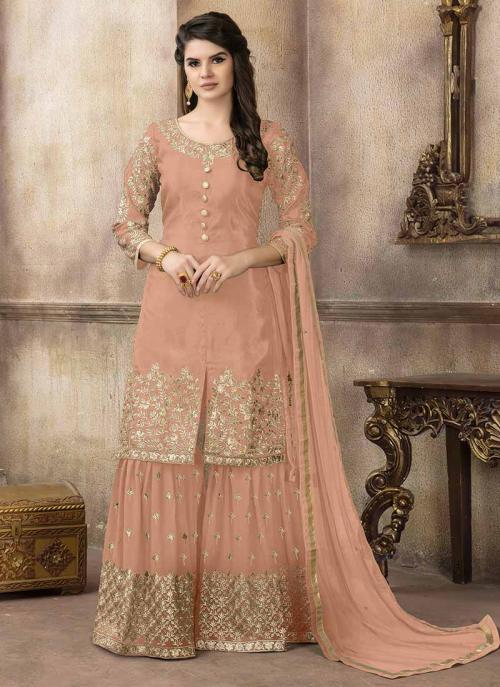 Festival Wear Peach Viscose Upada Silk Embroidery Work Sharara Suit