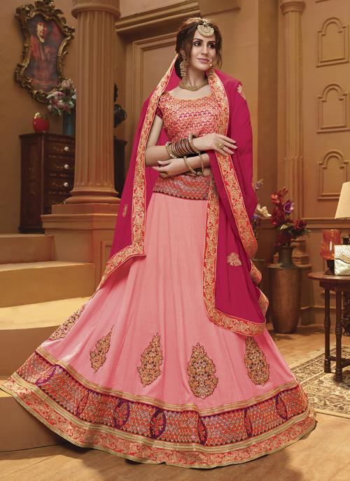 Festival Wear Pink Banglori Silk Lace Work Lehenga Choli