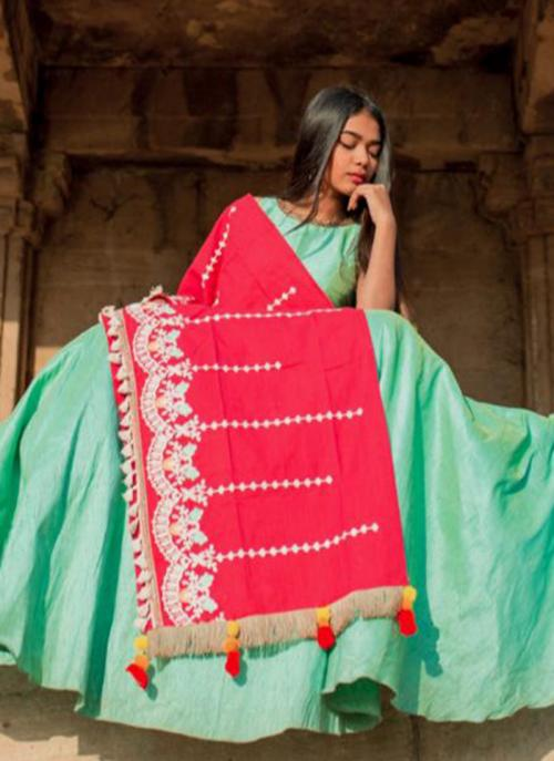 Festival Wear Pink Cotton Embroidery Dupatta