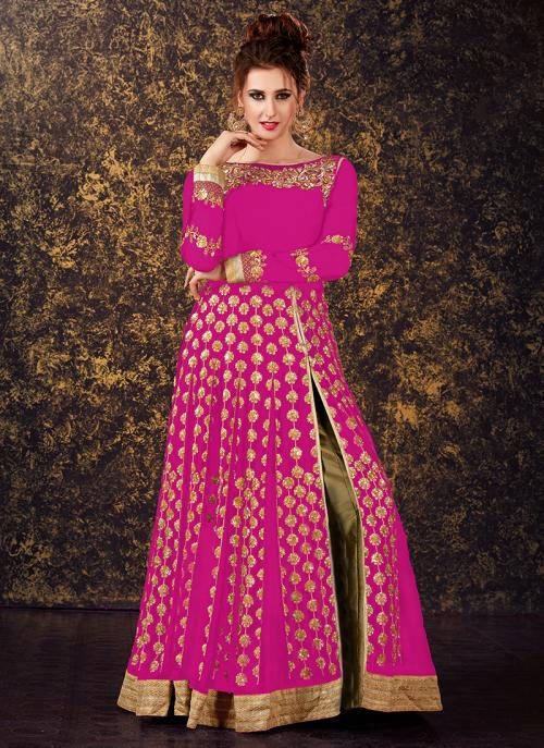 Festival Wear Pink Georgette Sequins Work Anarkali Style
