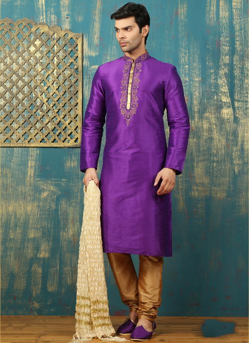 Festival Wear Purple Art Silk Embroidered Work Kurta Pajama