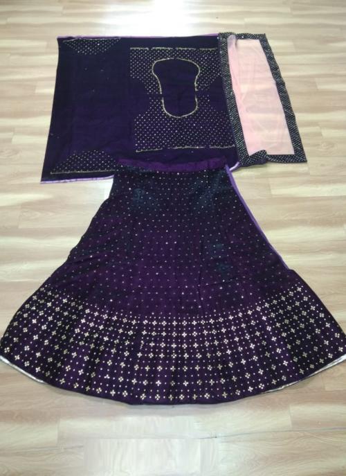 Festival Wear Purple Velvet Stone Work Lehenga Choli