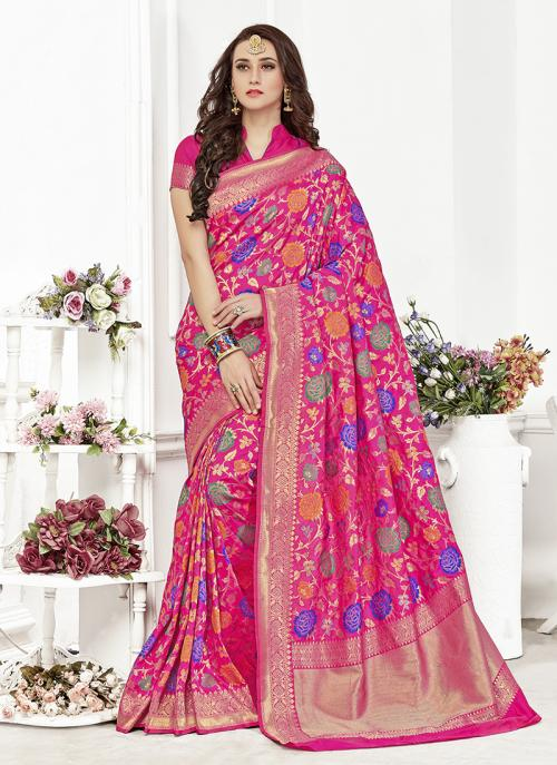 Festival Wear Rani Colour Banarasi Silk premium royal silk saree Saree