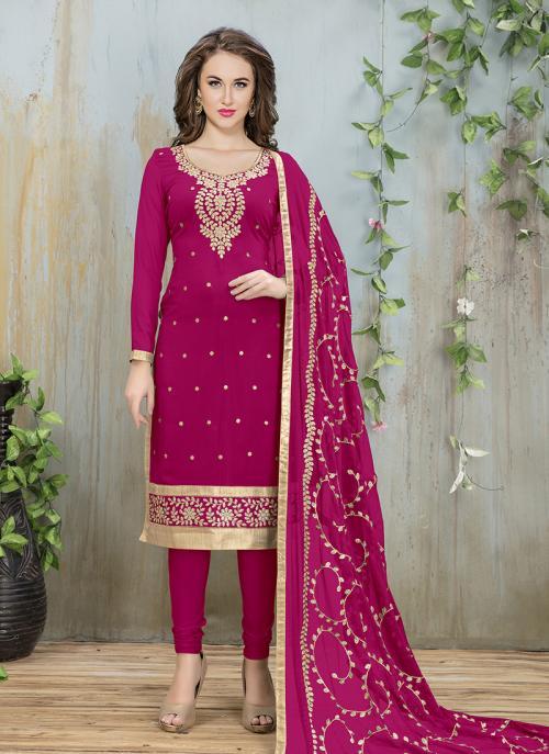 Festival Wear Rani Faux Georgette Embroidery Work Churidar Style