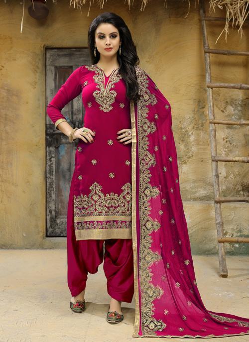 Festival Wear Rani Faux Georgette Embroidery Work Salwar Suit