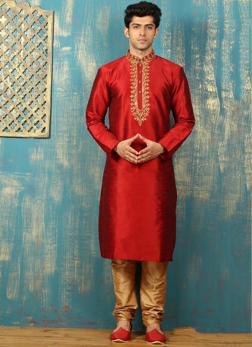 Festival Wear Red Art Silk Embroidered Work Kurta Pajama