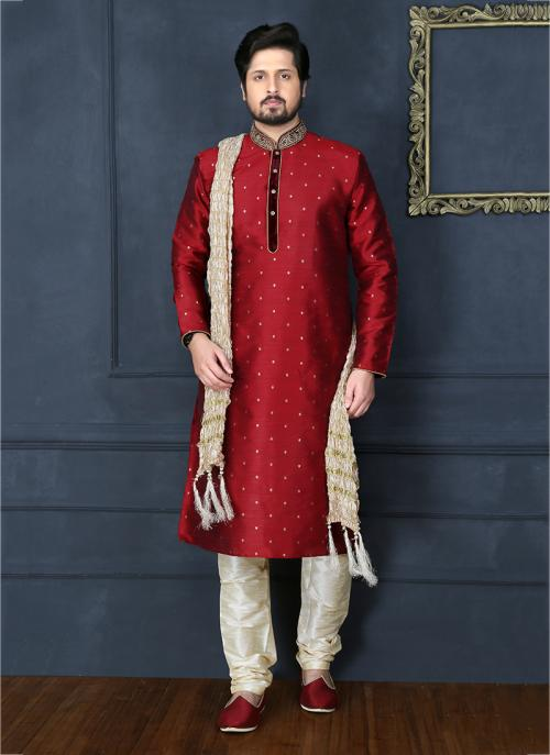 Festival Wear Red Banarasi Silk Embroidery Work Sherwani Style