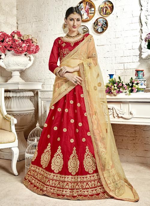 Festival Wear Red Banglori Silk Embroidery Work Lehenga Choli
