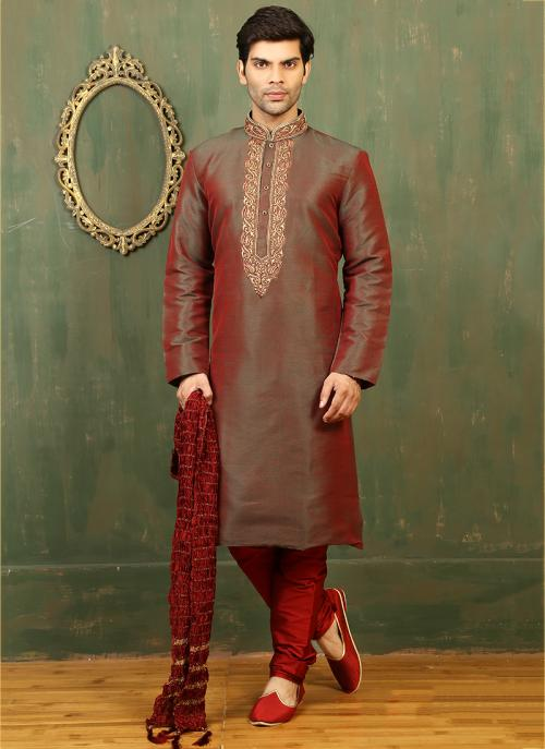 Festival Wear Red Dhupion Embroidered Work Kurta Pajama