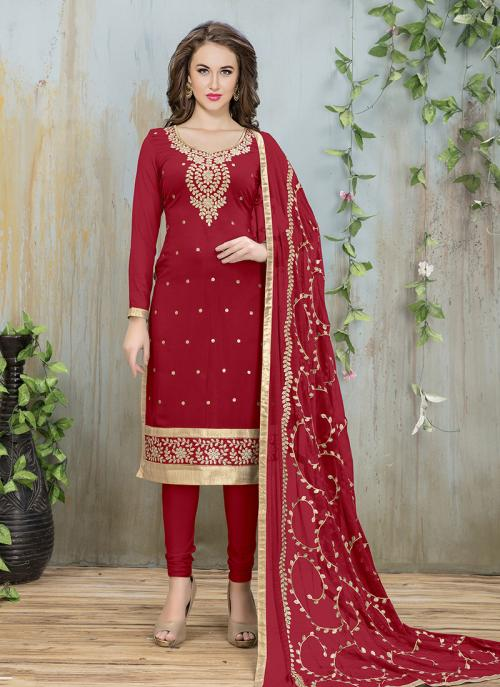 Festival Wear Red Faux Georgette Embroidery Work Churidar Style