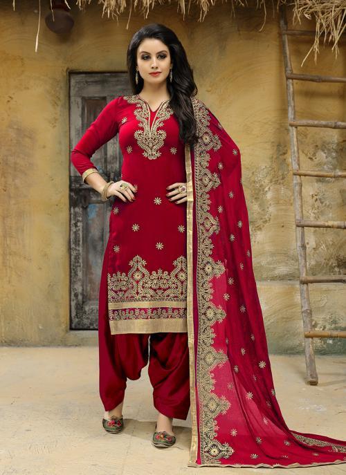 Festival Wear Red Faux Georgette Embroidery Work Salwar Suit
