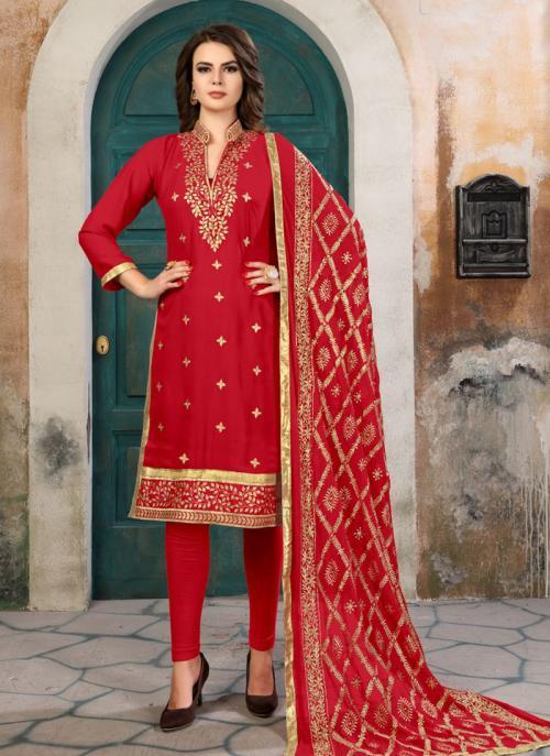 Festival Wear Red Faux Georgette Gota Patti Work Churidar Suit