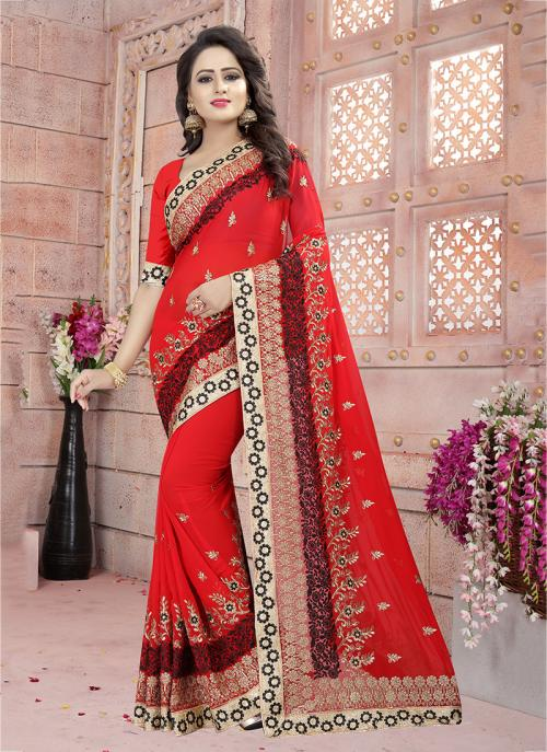 Festival Wear Red Georgette Coding Embroidery Work Saree