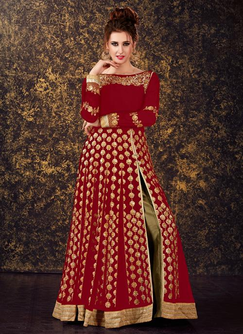 Festival Wear Red Georgette Sequins Work Anarkali Style