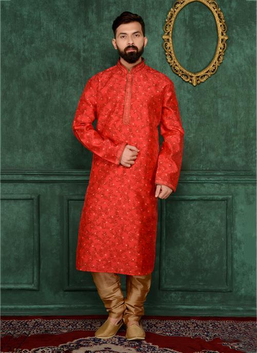 Festival Wear Red Jacqaurd Silk Lace Work Kurta Pajama