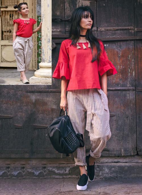 Khadi Patch Work Festival Wear Red Western Top