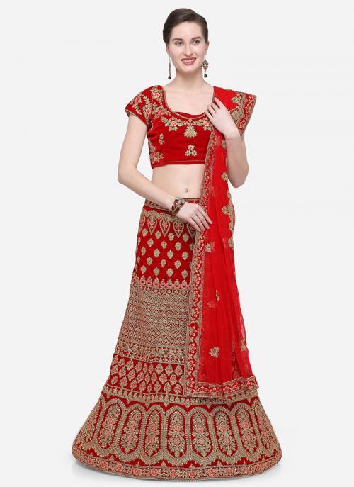 Festival Wear Red Velvet Zari Embroidery Work Lehenga Choli