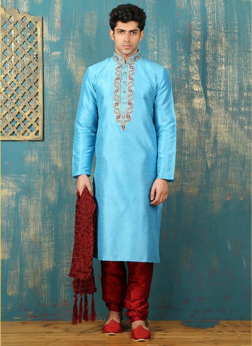Festival Wear Sky Blue Art Silk Embroidered Work Kurta Pajama