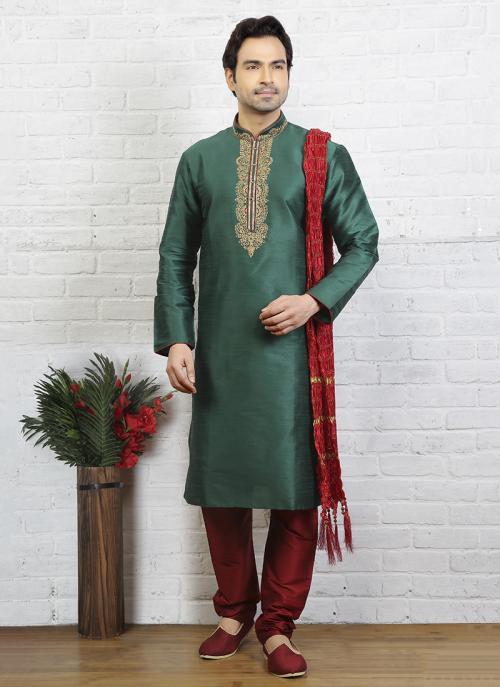 Trendy Look Embroidery Work Festival Wear Sky Blue Art Silk Sherwani Style