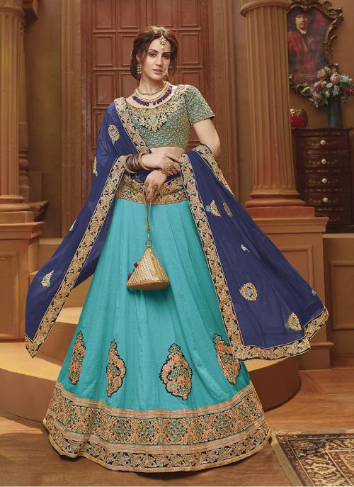 Festival Wear Sky Blue Banglori Silk Lace Work Lehenga Choli