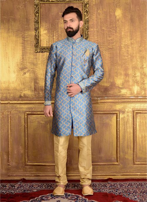 Festival Wear Sky Blue Jacqaurd Embroidery Work Sherwani