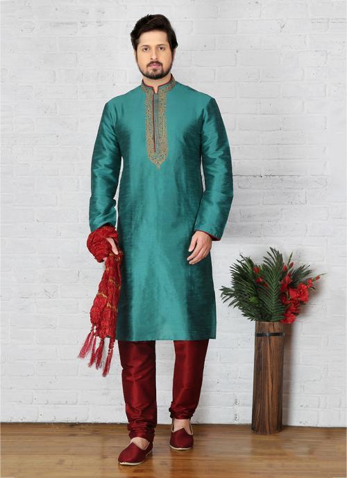 Festival Wear Teal Art Silk Embroidery Work Sherwani Style