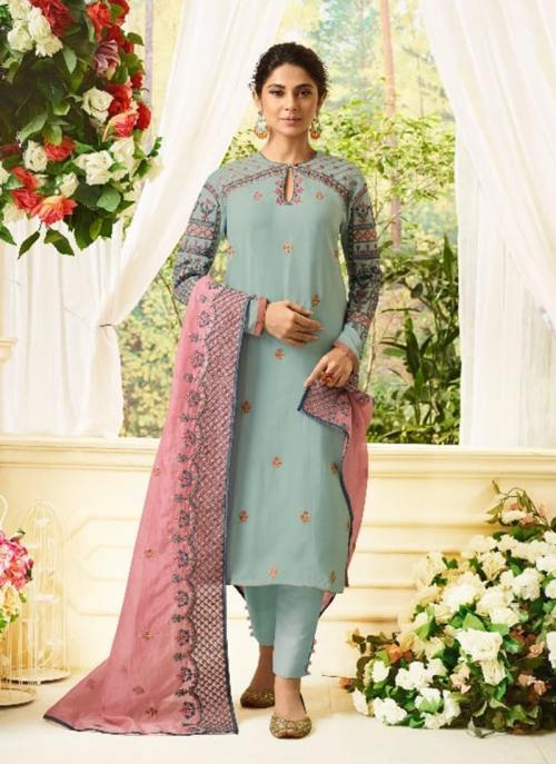 Festival Wear Teal Modal Silk Resham Work Salwar Suit