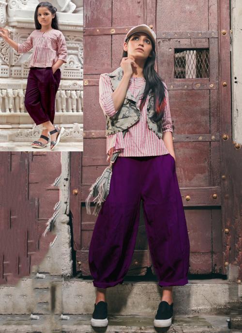 Festival Wear Violet Khadi Patch Work Western Top