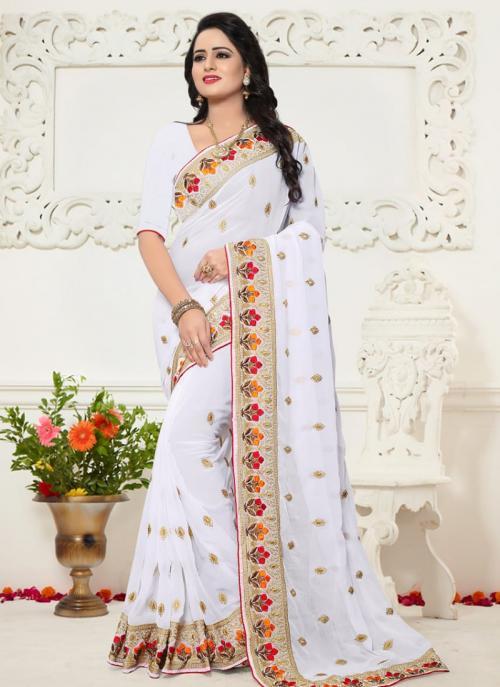 Festival Wear White Georgette Resham Work Saree