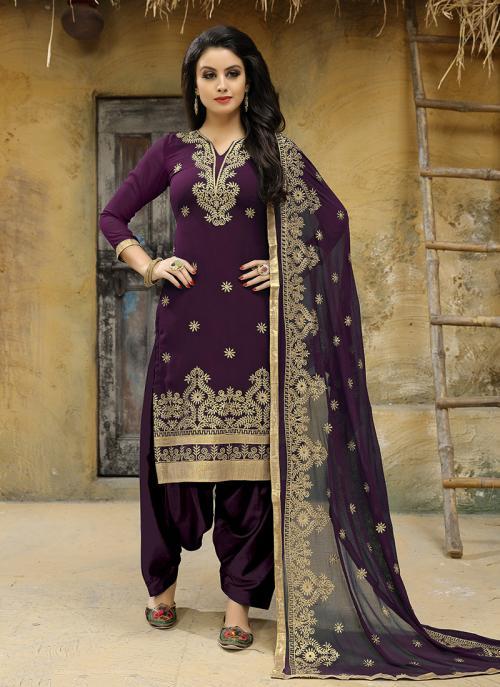 Festival Wear Wine Faux Georgette Embroidery Work Salwar Suit