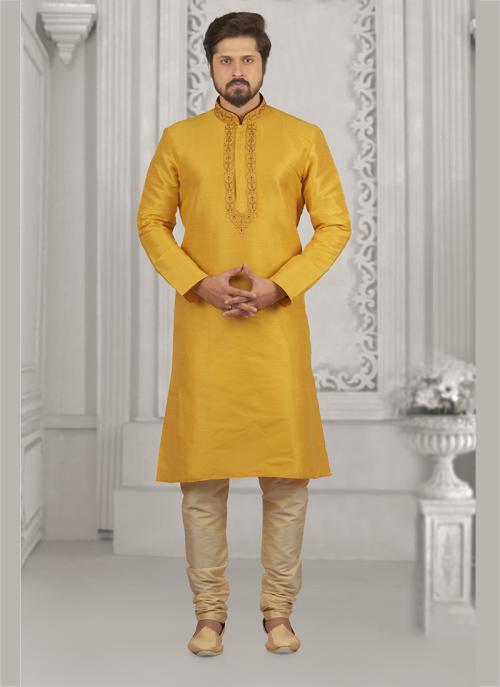 Festival Wear Yellow Banarasi Silk Embroidery Work Kurta Pajama