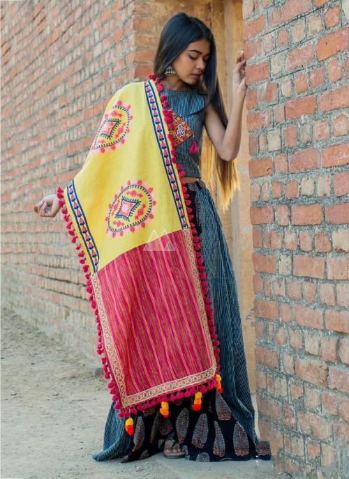 Festival Wear Yellow Cotton Embroidery Dupatta