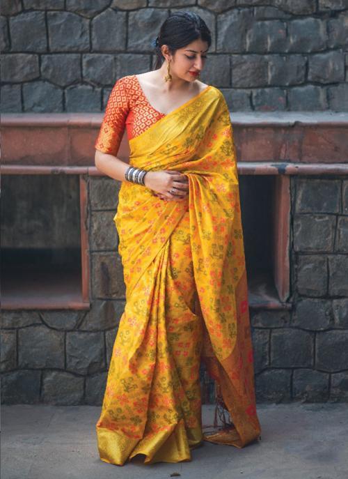 Festival Wear Yellow Silk Printed Work Saree