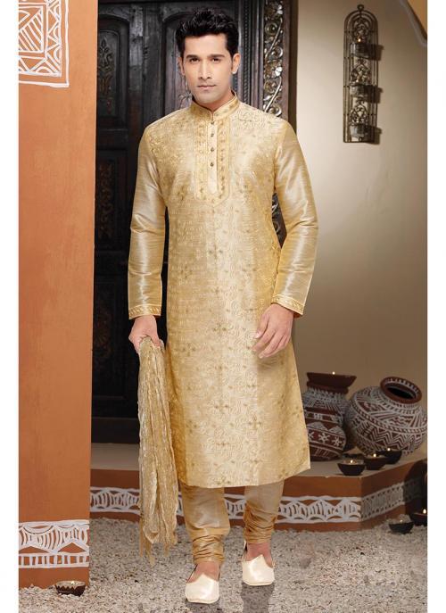 Gold Dhupion Kurta Pajama Collection For Wedding