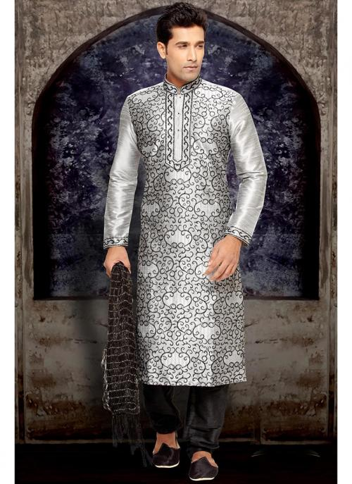 Grey Dhupion Kurta Pajama Collection For Wedding