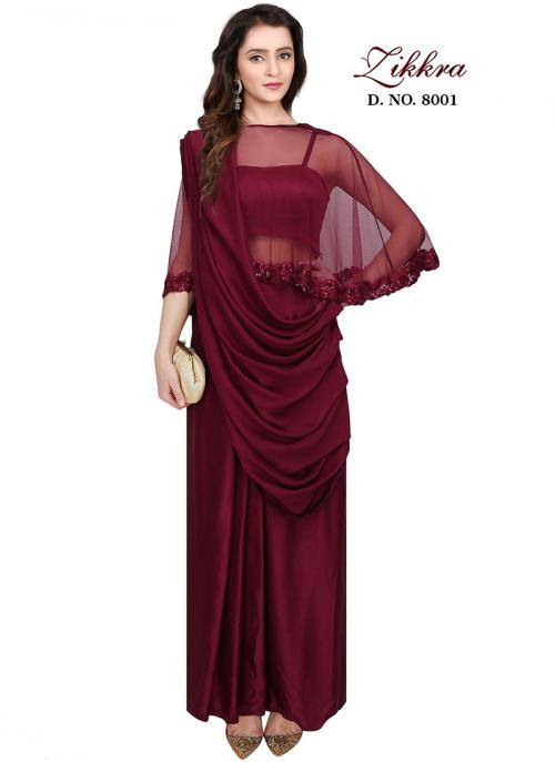 Party Wear Maroon Crepe Silk Hand Work Gown