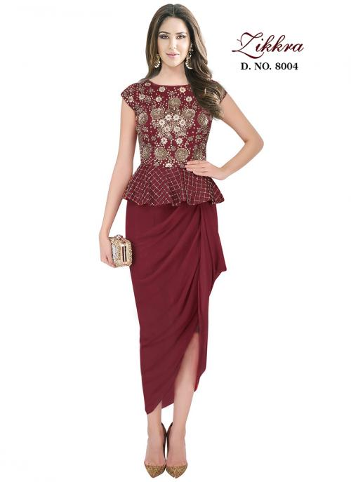 Party Wear Maroon Georgette Hand Work Gown
