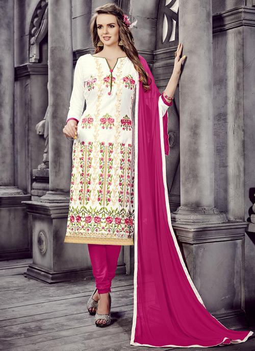 Office Wear Cream Cotton Embroidery Work Churidar Suit