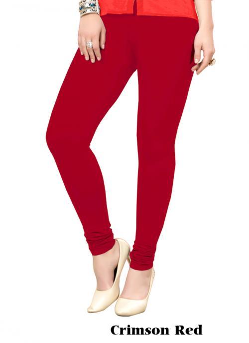 Office Wear Crimson Red Cotton Plain Leggins