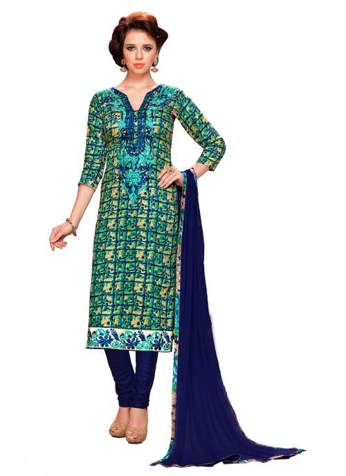Office Wear Green Cotton Embroidery Work Churidar Suit